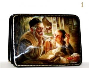 ЧЕТЫРЕ ЛАКИРОВАННЫЕ ШКАТУЛКИ «ЕВРЕЙСКИЕ МОТИВЫ»