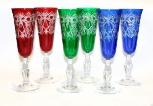 Набор фужеров для шампанского (три цвета).