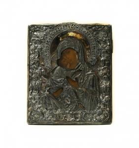 Владимирская икона Божьей Матери в серебряном окладе