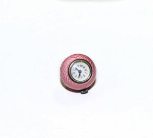 Часы- кулон в форме шара с розовой эмалью