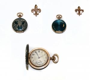 Швейцарские карманные часы с гильошированной эмалью и алмазами