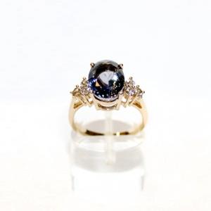 Кольцо с танзанитом и шестью бриллиантами
