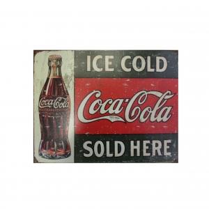 Металлический рекламный постер продукции компании