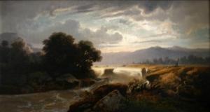 Монограммист F. B. «Вид горной реки с порогами»