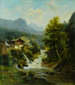 Неизвестный художник «Мельницы на горном ручье»