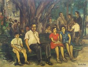 Анчер Исаак Израилевич «Оживленная сцена в Перецине»