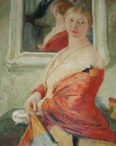Неизвестный художник «Девушка в красной шали у зеркала»