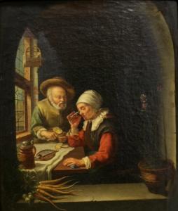 Неизвестный художник «Пожилая пара завтракает у окна»