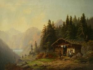 Долл Антон (Doll Anton) «Дом на фоне гор и озера»