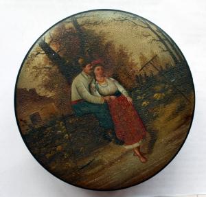 Шкатулка круглая «Украинская пара»