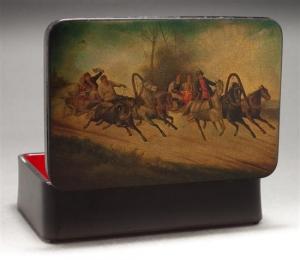 Шкатулка с лаковой росписью фабрики Вишнякова