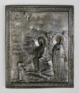 Икона «Богоматерь со святым Николаем и коленопреклонённым священником» торгового дома