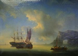 Неизвестный художник «Морской пейзаж с парусниками и лодкой»