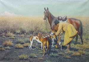 Хуго Унгевиттер  «Казак с лошадью и собаками»