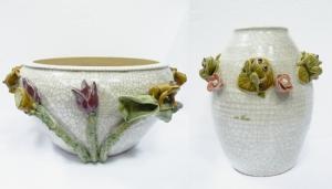 Кашпо и ваза с лягушками