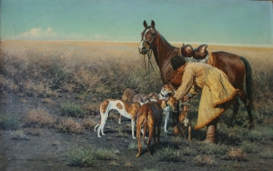 Унгевиттер Хуго  «Казак с лошадью и собаками в степи»