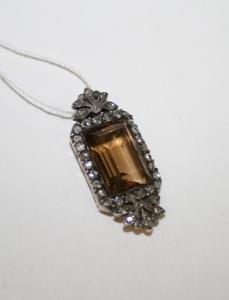 Подвеска с цитрином и алмазами