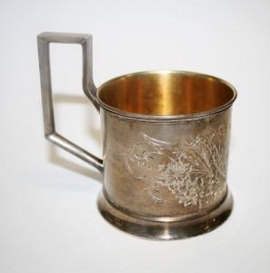 Пара серебряных подстаканников с вензелем